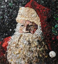Father Christmas, junk art by Jane Perkins Father Christmas, Christmas Crafts, Christmas Mosaics, Merry Christmas, Primitive Christmas, Country Christmas, Christmas Christmas, Christmas Buttons, Junk Art