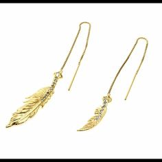 14KGold feather earrings w Swarovski crystals 14KGold feather earrings w Swarovski crystals retail from my personal collection of CM brand. These are to die for! Truly sexy! Sold out elsewhere! Absolutely no returns! Jewelry Earrings