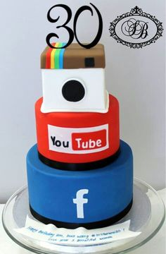 Social Media Cake would be fun for InTheirFace Marketing's anniversary! Crazy Cakes, Unique Cakes, Creative Cakes, Fondant Cakes, Cupcake Cakes, Cupcakes Bonitos, Rodjendanske Torte, Sweet 16 Cakes, Just Cakes