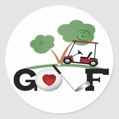 Shop I Love Golf Classic Round Sticker created by Ricaso_Greetings. Golf Painting, Painting Art, Golf Ball Crafts, Rock Painting Designs, Seashell Crafts, White Elephant Gifts, Round Stickers, Cartoon Drawings, Custom Stickers