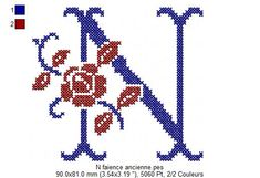 N Digoin                                                                                                                                                                                 Plus Cross Stitch Designs, Cross Stitch Patterns, Le Point, Flower Bouquet Wedding, Letters And Numbers, Cross Stitch Embroidery, Creations, Tapestry, Sewing