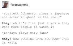 White washing, Hollywood, the shell, ghost, Scarlett johansson, Zendaya Coleman, spiderman: homecoming, Mary Jane Watson