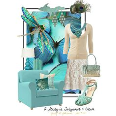 """""""A Study in Turquoise & Cream"""" by judymjohnson on Polyvore"""