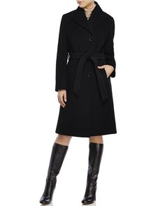 CINZIA ROCCA Belted Wool-Blend Coat