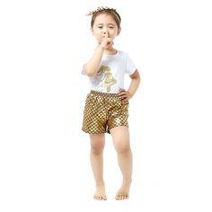New Baby Clothes White Short Sleeve Shirt Gold Mermaid Shorts 2 PCS Set Summer Kids Mermaid Clothing
