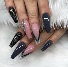 Glamorous Acrylic Matte And Stiletto Nails Design - Hairstyles Glam Nails, Fancy Nails, Bling Nails, Stiletto Nails, Matte Nails, Colorful Nail Designs, Nail Art Designs, Nails Design, Gorgeous Nails