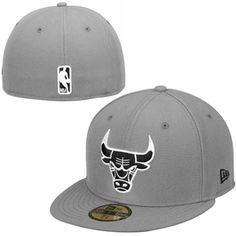 aa073147935 Mens Chicago Bulls New Era Gray Black 59FIFTY Fitted Hat Nba Chicago Bulls