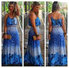 Vestido Longo Azul Degrade - Look Store
