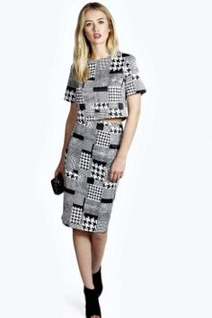 Zoe Dogtooth Skirt Co-Ord Set