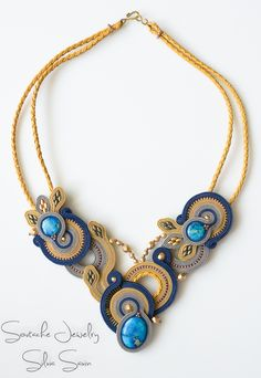 Blue / Mustard / Beige / Grey Handmade Soutache necklace