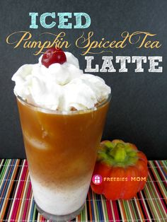 Iced Pumpkin Spiced Tea Latte Recipe uses any spice or chai tea you have on hand plus your leftover canned #pumpkin - Perfect Fall Treat for Mom!!! http://freebies4mom.com/pumpkinlatte/