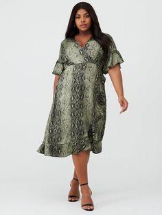 Ax Paris Curve Frill Sleeve Animal Wrap Dress - Khaki in Green Khaki Dress, High Leg Boots, Dress Outfits, Dresses, No Frills, Frocks, Ruffles, Curves, Wrap Dress
