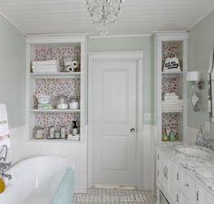 DIY master bathroom built-ins with floral drawer liner to back shelves - www.goldenboysandme.com