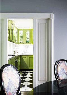 always loved the Pea green w/ the black & white diamond/harlequin... A Chic and Feminine Australian Apartment