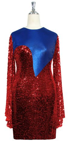 957808fd072f Short patterned dress with oversized sleeves in red sequin spangles fabric  and blue stretch ITY fabric. SequinQueen.com