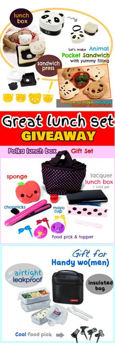 """--GIVEAWAY -- 3 Awesome Holidays Gift – Kitchen Gadgets and Lunch Boxes Sets -- Easy entry just answering """"What inspires you to do or want to start bento-ing? in our blog. Pls click at the image to go to our blog."""