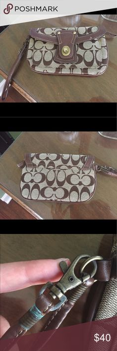 Coach wristlet Coach wristlet very cute and useful! Wear and tear shown Coach Bags Clutches & Wristlets