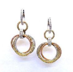 Triple Hoop 3Tone Diamond Dangle Earrings by MondiJewelry on Etsy, $1450.00