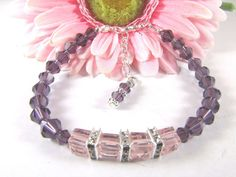Purple and Pink Cube Swarovski Bead Bracelet by Caguess1 on Etsy