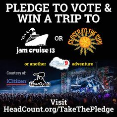 There's a big election this week! Pledge to Vote with HeadCount, and you might win a trip for two to Closer to the Sun or one of many Cloud 9 Adventures! Visit -> http://www.headcount.org/takethepledge/