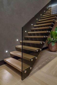 Amazing Luxury Staircase Design Ideas Modern House - Page 29 of 30 Modern Stair Railing, Stair Railing Design, Home Stairs Design, Modern Stairs, Interior Stairs, Modern House Design, Home Interior Design, Stairs Light Design, Staircase Design Modern