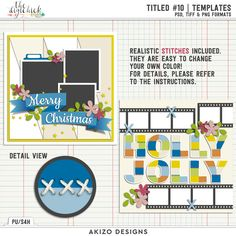 Titled 10 Templates by Akizo Designs for Digital Scrapbooking Layout Page, Christmas, holly jolly