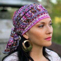 Purple Tribal Head Wrap Turban Chemo  Alopecia Scarf