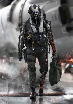Explore the concept art and creatures collection - the favourite images chosen by wadekorn on DeviantArt. Jet Fighter Pilot, Cyberpunk Kunst, Arte Robot, Futuristic Armour, Sci Fi Armor, Future Soldier, Armor Concept, Sci Fi Characters, Shadowrun