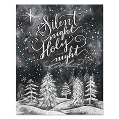 Silent Night, Holy Night - Print - Lily & Val – Silent Night, Holy Night – Print & Canvas – Winter Art – Illustrated Art – H - Chalkboard Lettering, Chalkboard Designs, Chalkboard Drawings, Chalkboard Ideas, Chalkboard Print, Fall Chalkboard Art, Might Night, Christmas Chalkboard Art, Silent Night Holy Night