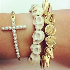 <3 skulls, gold, pearls, cross, studs, stacked jewelry, bracelet obsession