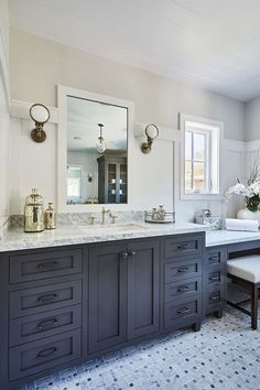 Stunning Guest Bath With Gray Bathroom Vanity Paired With