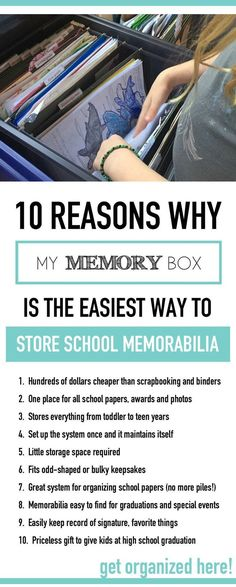 Everything you need to make school memory box for your kids! How to organize kids school papers, plus memory box ideas and memory box supplies that you need to put together a school keepsake box. Discover how My Memory Box™️ makes it super simple.
