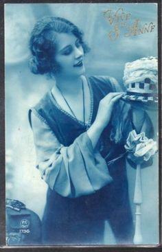 GA015-ART-DECO-Ste-ANNNE-LADY-FEMME-CHAPEAU-HAT-KITSCH-PHOTO-dART