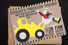 Construction Themed Birthday Party Invitation at PreparingforPeanut.com