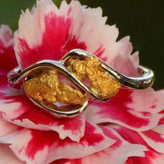 Alaskan Gold Nugget Twist Ring in 14kt White Gold - - www.goldrushfinejewelry.com http://www.shop.goldrushfinejewelry.com/Gold-Nugget-Twist-Ring-GRL166WG-GRL166WG.htm