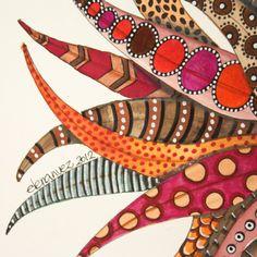 zentangle mandala -~Zentangle - More doodle ideas - Zentangle - doodle - doodling - zentangle patterns. Dot Painting, Painting & Drawing, Painted Leaves, Hand Painted, Palm Frond Art, Posca Art, Leaf Crafts, Leaf Art, Aboriginal Art