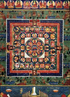 Bhaishayia-Guru (el Buda de la Medicina) junto a la diosa Pragñá Paramita en el centro