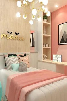 teen girl bedroom decor, gray white and pink bedroom decor, tween girl room design, girl room ideas desk area in kid room Home Decor Bedroom, Bedroom Themes, Dream Bedroom, Room Inspiration, Small Room Bedroom, Small Bedroom, Cute Bedroom Ideas, Trendy Bedroom, New Room