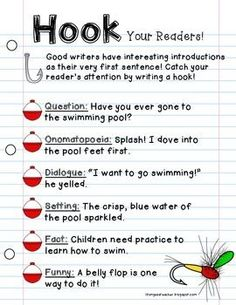 Writing Workshop Anchor Chart Freebie {Hooks}, more elementary writing ideas here: https://goo.gl/ygR4F8