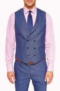 Denim waistcoat from M.J. Bale. Think this would look great on a groom for a beach wedding! Not too formal - but still dressy!