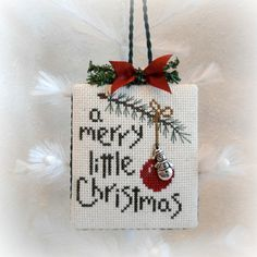 A Merry Little Christmas Snowman Ornament by SnowBerryNeedleArts