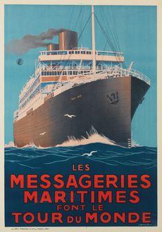 Les Messageries Maritimes font le tour du monde - 1925 - illustration : Sandy Hook (Georges Taboureau) -