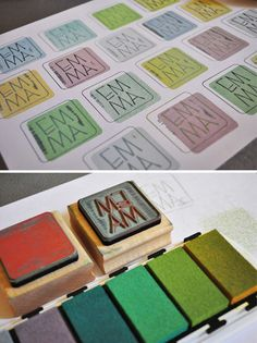 Branding stamp - great idea to use two stamps on top of each other to get two separate colors.