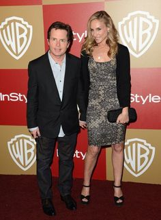 Actor Michael J. Fox with his wife, actress Tracy Pollan.
