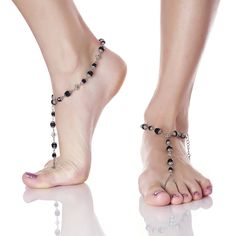 Filigree Beaded Barefoot Sandals- Black as Night from Nearly Naked $149  http://shop.gonearlynaked.com/filigree-beaded-barefoot-sandals-black-as-night/ #gonearlynaked #nearlynaked #barefootsandals #weddingjewelry #footjewelry