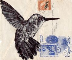So that you can see these two artists together. Mark Powell creates his artworks on used envelopes. S
