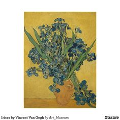 """""""Vase with irises against a yellow background"""" (Saint-Rémy-de-Provence. May Vincent van Gogh, Zundert, the Netherlands oil on canvas; x cm Place of creation: Saint-Rémy-de-Provence, France Van Gogh Museum Van Gogh Pinturas, Vincent Van Gogh, Van Gogh Museum, Flores Van Gogh, Desenhos Van Gogh, Van Gogh Still Life, Painting Prints, Art Prints, Poster Prints"""