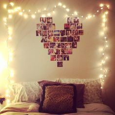 My latest project: Heart Photo Collage. I really like this idea. Especially with the twinkle lights. Abi likes for her room. String Lights In The Bedroom, Indoor String Lights, Room Lights, Icicle Lights Bedroom, Bedroom Lighting, Bedroom Decor, Wall Decor, Bedroom Ideas, Dorm Lighting