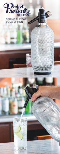 Give the gift of making club soda or seltzer at home. Looks way better on a home bar then a 2-liter plastic soda bottle.