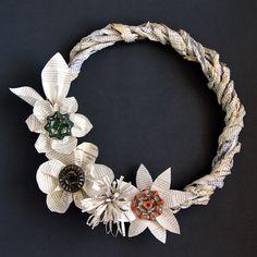 Make Wreath: Grapevine Book Wreath - A Piece Of Rainbow